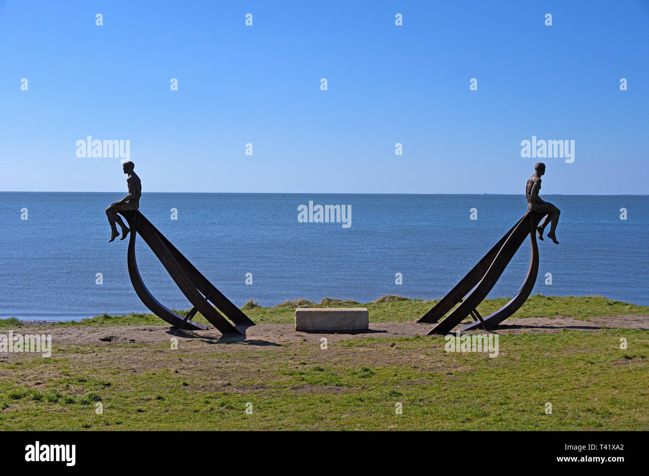 """Ship"", metal sculpture by Anna Gillespie, 2019. Half Moon Bay, Heysham, Lancashire, England, United Kingdom, Europe. Stock Photo"