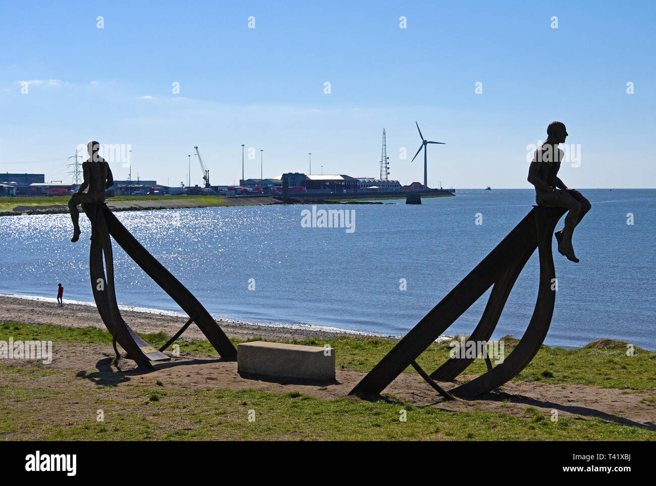 'Ship', metal sculpture by Anna Gillespie, 2019. Half Moon Bay, Heysham, Lancashire, England, United Kingdom, Europe. - Stock Image