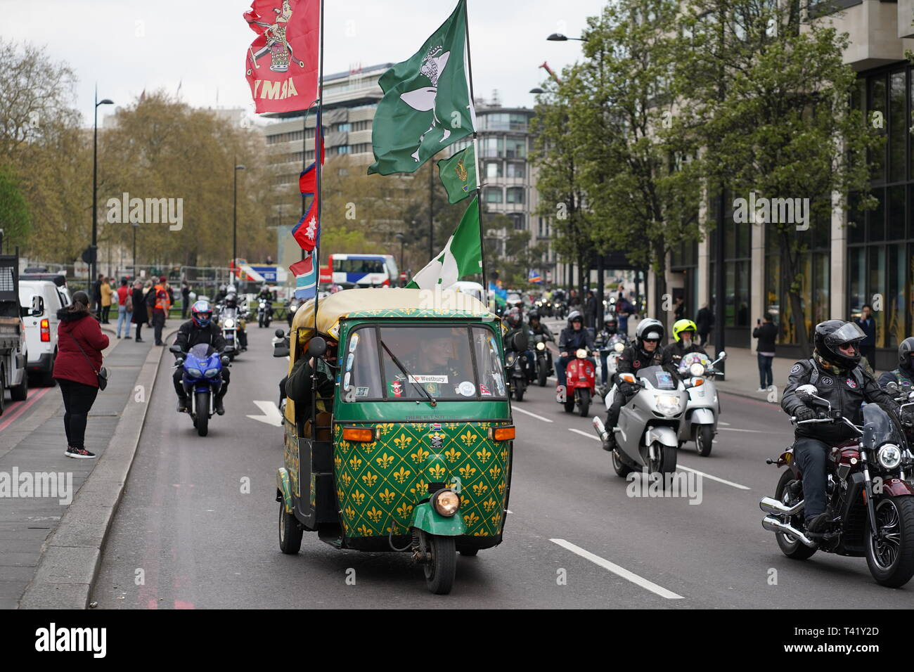 Thousands of bikers rode through London in support of Solider F who is facing prosecution for acts that took place in Northern Ireland in 1972.  The ride began at Hyde Park corner and travelled across Vauxhal Bridge along the embankment and to Parliament Square. - Stock Image