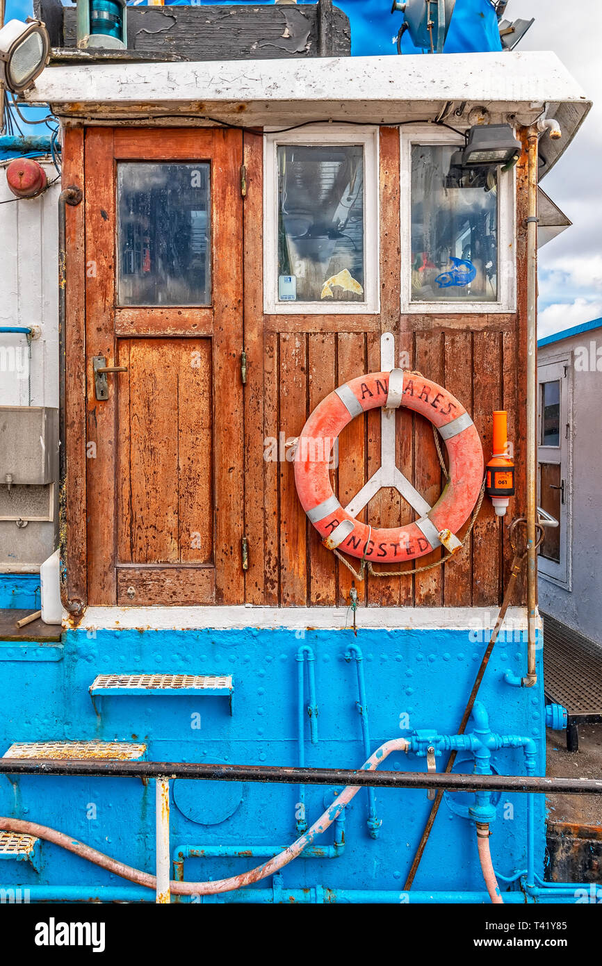 A Close Up View Of An Old Fishing Boat Cabin Stock Photo Alamy