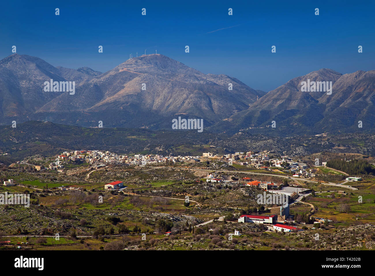 Panoramic view of Anogeia village, Psiloritis mountain, Rethimno, Crete, Greece. - Stock Image