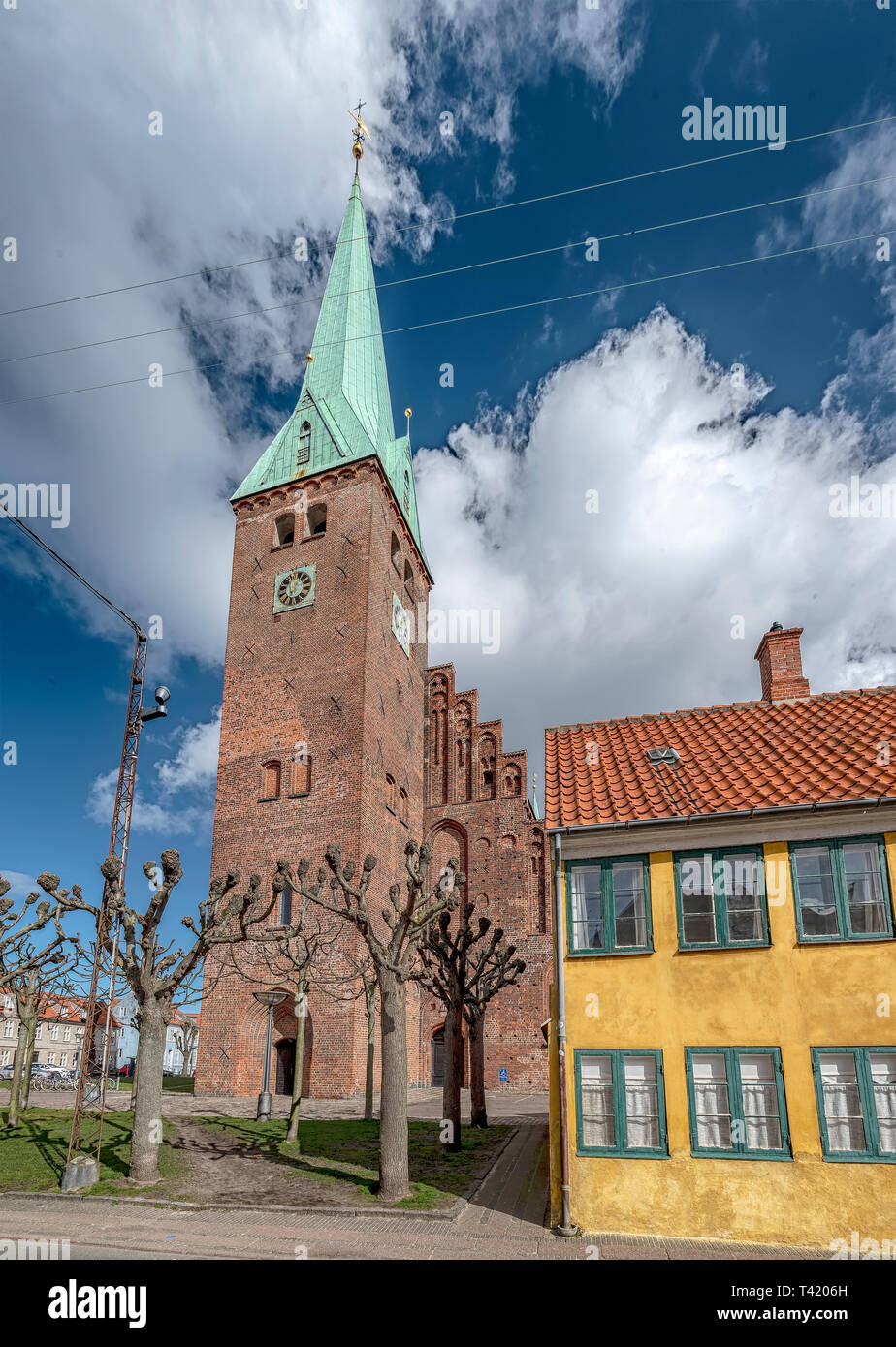 The church of Saint Olaf in the old town of Helsingor in Denmark. - Stock Image