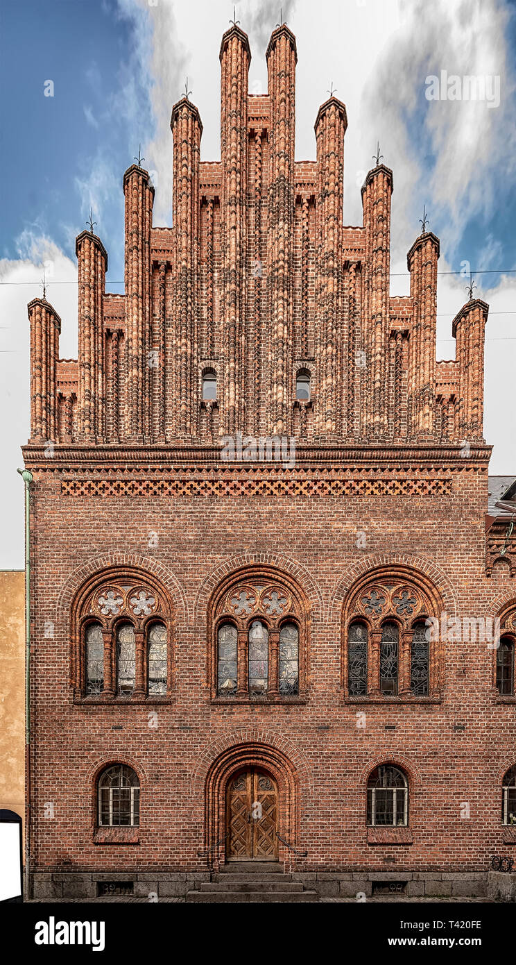 The facade of the town hall at Helsingor in Denmark. - Stock Image