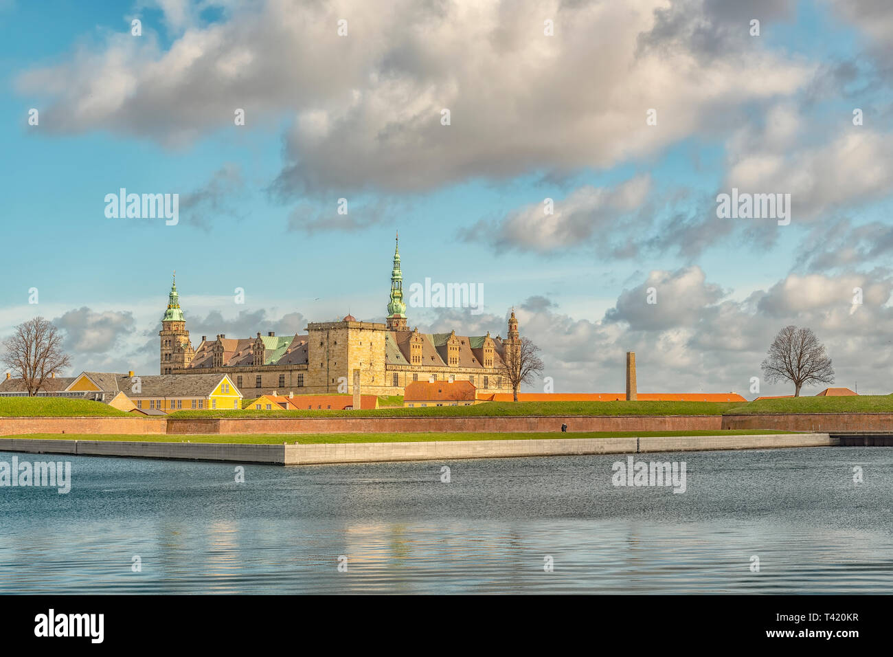 Kronborg castle made famous by William Shakespeare in his play about Hamlet situated in the Danish harbour town of Helsingor. - Stock Image