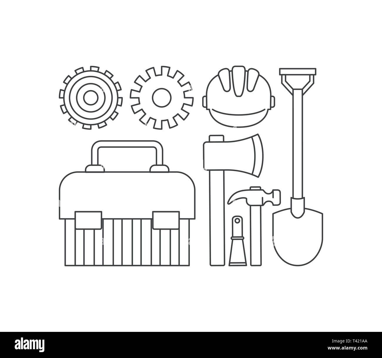 construction tools set items Stock Vector Art & Illustration