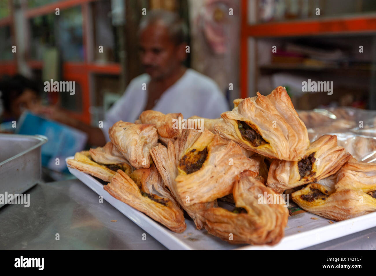 Savoury puffs with samosa filling in a shop  in Jaisalmer market, Rajasthan, India - Stock Image