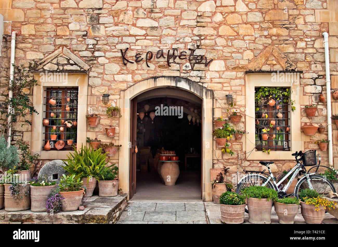 Ceramics art workshop in Margarites village, Rethimno, Crete, Greece. - Stock Image
