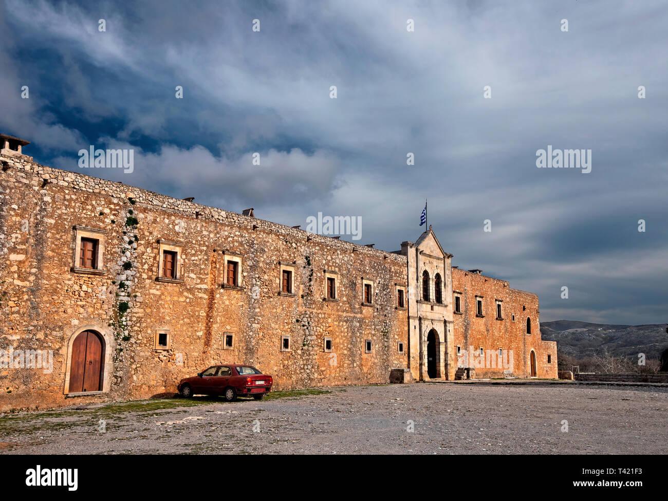The exterior walls and the main entrance of Arkadi Monastery, symbol of the struggle of Cretans against the Ottoman Empire  , Rethymno, Crete, Greec - Stock Image
