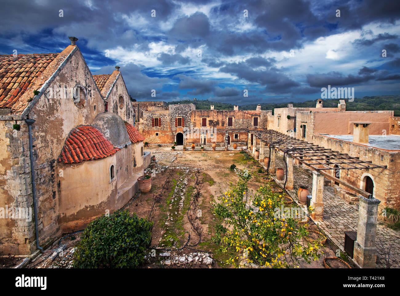 The main church of Arkadi Monastery, symbol of the struggle of Cretans against the Ottoman Empire  , Rethymno, Crete, Greece. - Stock Image