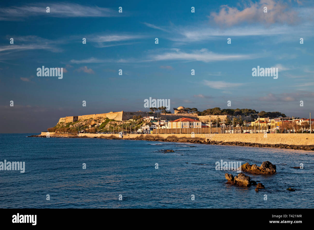 View of Fortezza, the castle of Rethimno town, late in the afternoon. Crete island, Greece. Stock Photo