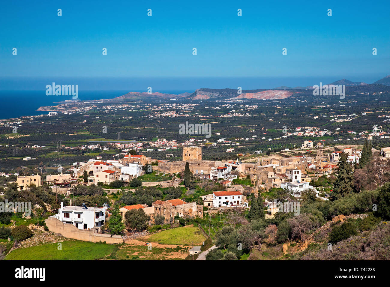 Panoramic view of Maroulas village (Rethimno, Crete, Greece), known for its 2 old, Venetian towers. - Stock Image