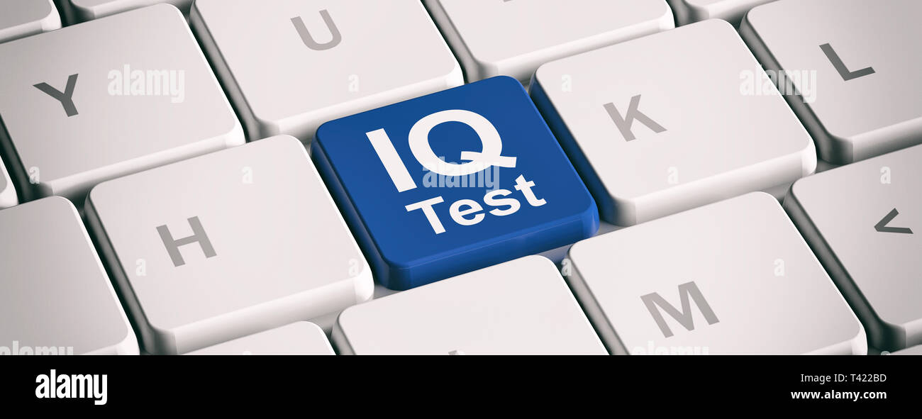 Iq Test Online Intelligence Measurement Test Blue Key On White Computer Laptop Keyboard Banner 3d Illustration Stock Photo Alamy