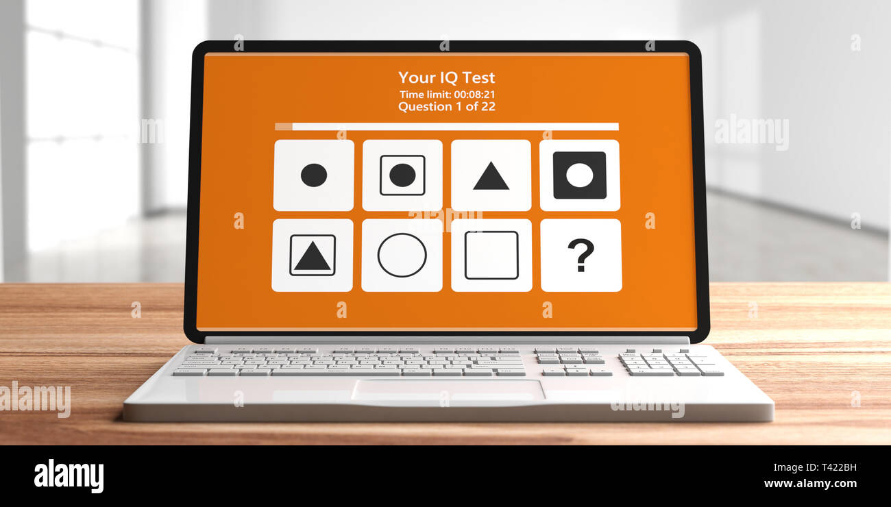 IQ test. Online Intelligence test form on computer laptop screen, blur empty room background. 3d illustration - Stock Image