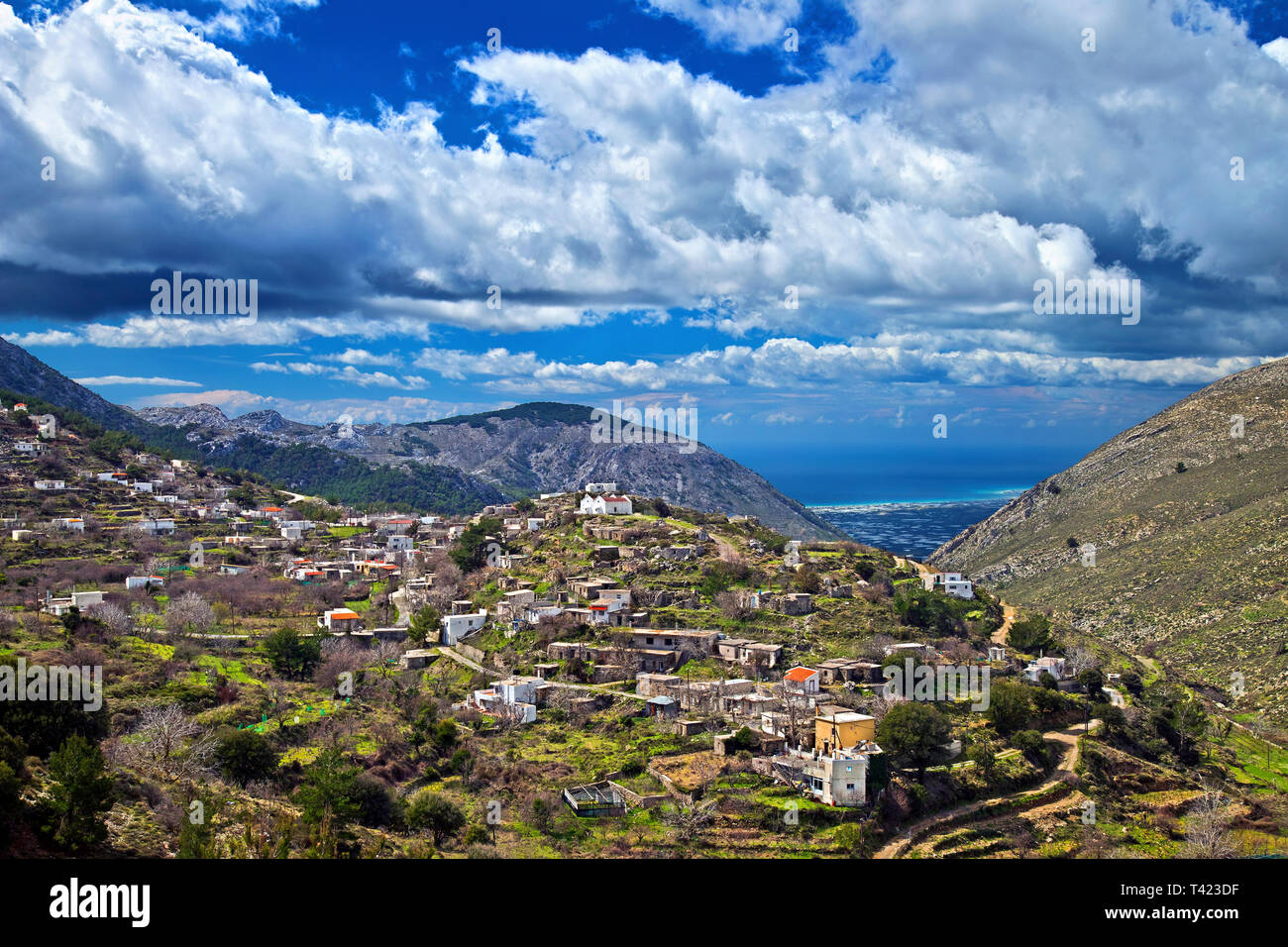 Thrypti village, one of the most beautiful mountainous village of Ierapetra municipality, Lassithi, Crete, Greece. - Stock Image
