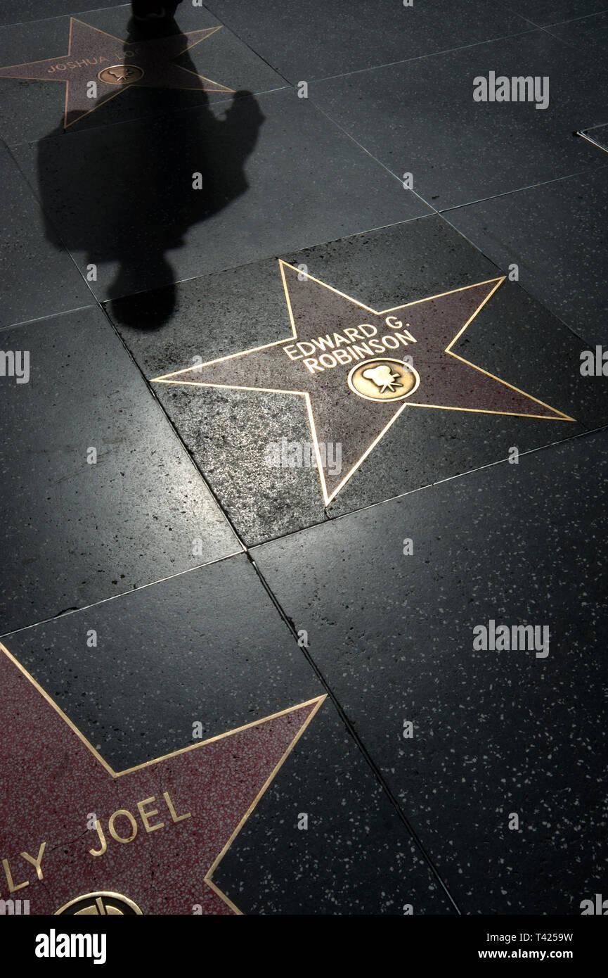 Stars in sidewalk on Hollywood blvd. Walk of Fame, Los Angeles, CA - Stock Image