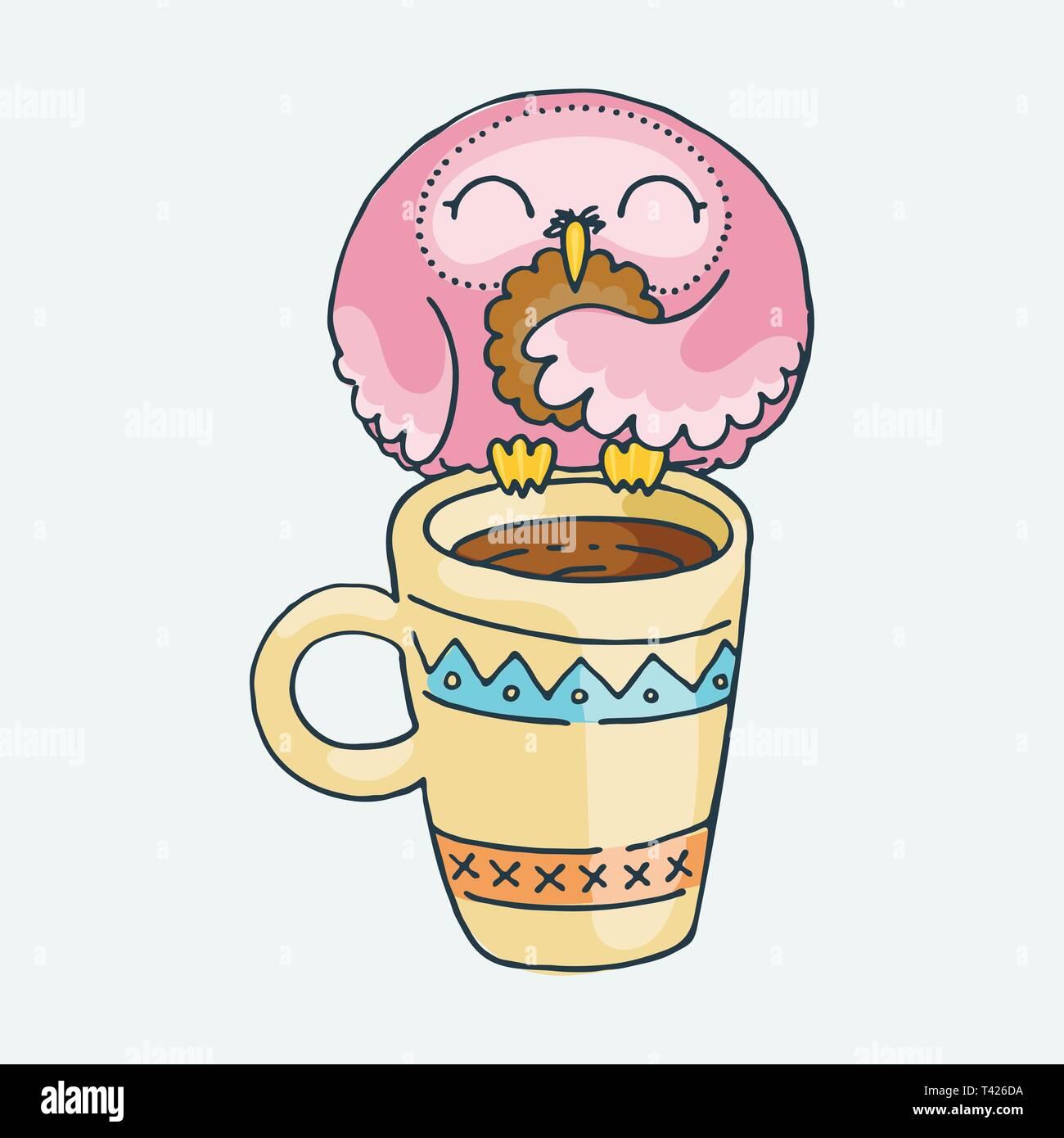 Cute Cartoon Owl On A Mug Vector Clip Art Illustration For Children Design Cards Prints Coloring Books Grungy Kawaii Image Stock Vector Image Art Alamy
