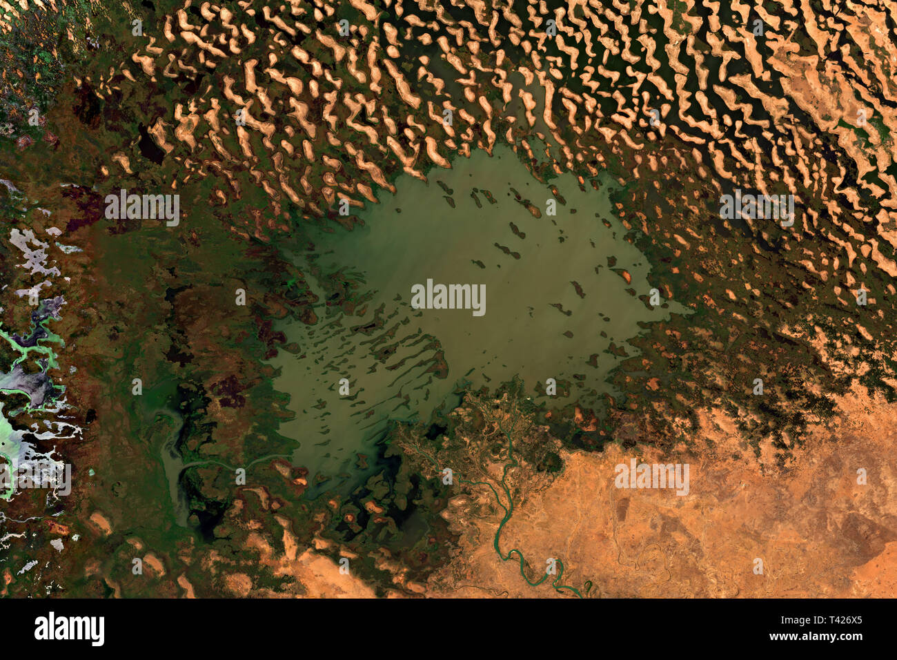 Lake Chad in Africa seen from space - contains modified Copernicus Sentinel Data (2019) - Stock Image