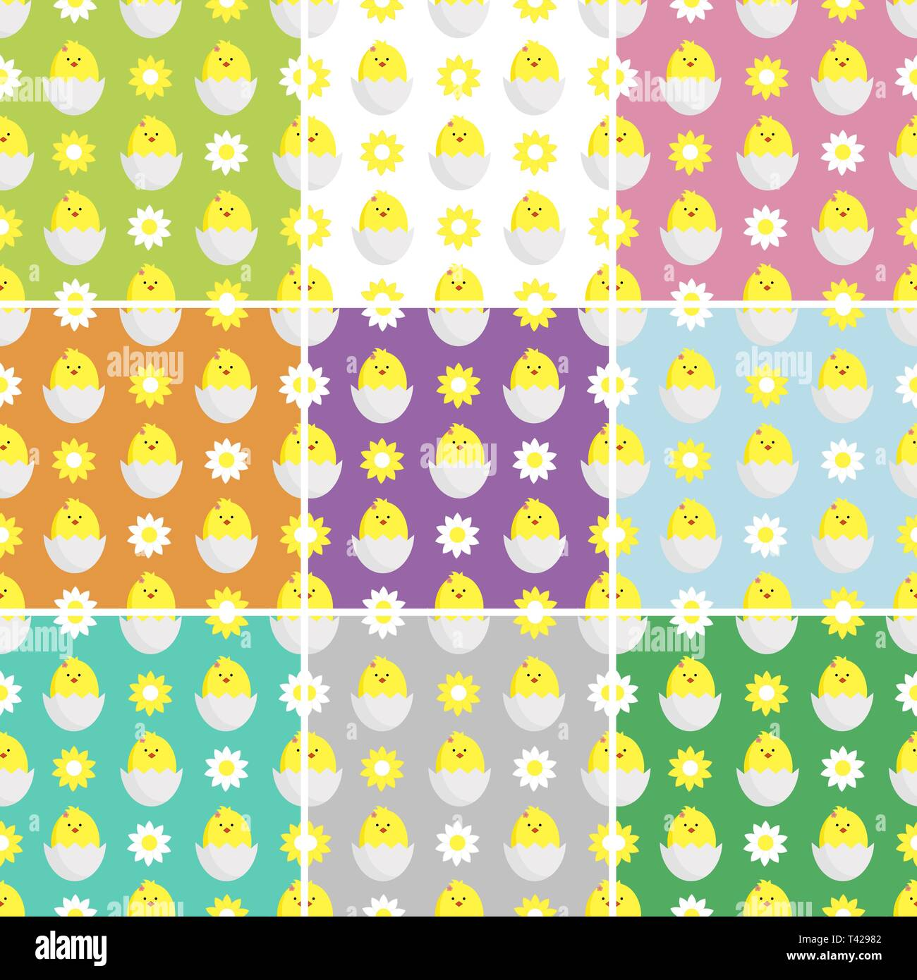 decorating textiles, packaging and wallpapers for children. set seamless vector illustration with daisies,chamomile and chickens. - Stock Vector
