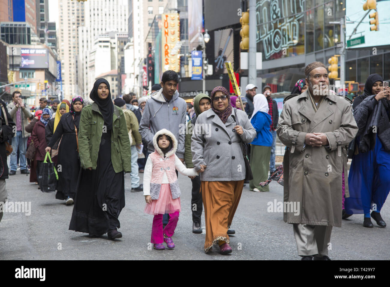 Muslims rally and march in New York City after the New Zealand massacre and for the Palestinians in Gaza as well as against Islamophobia in general. - Stock Image