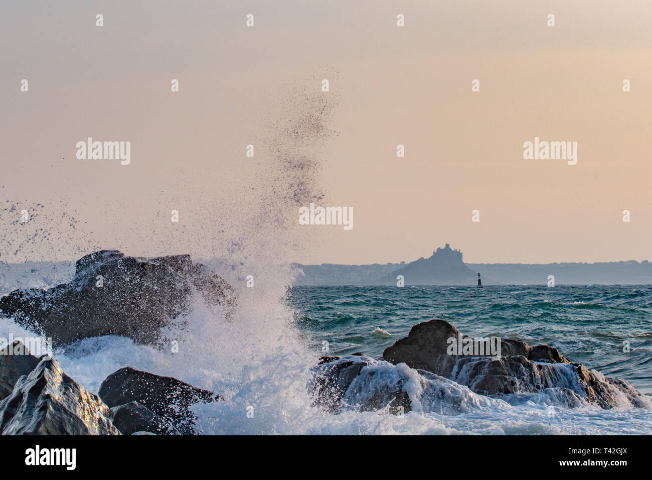 Mousehole, Cornwall, UK. 13th Apr, 2019. UK Weather. Cold winds from the East approaching 50 mph are starting to hit the coast of Cornwall. Credit: Simon Maycock/Alamy Live News Stock Photo