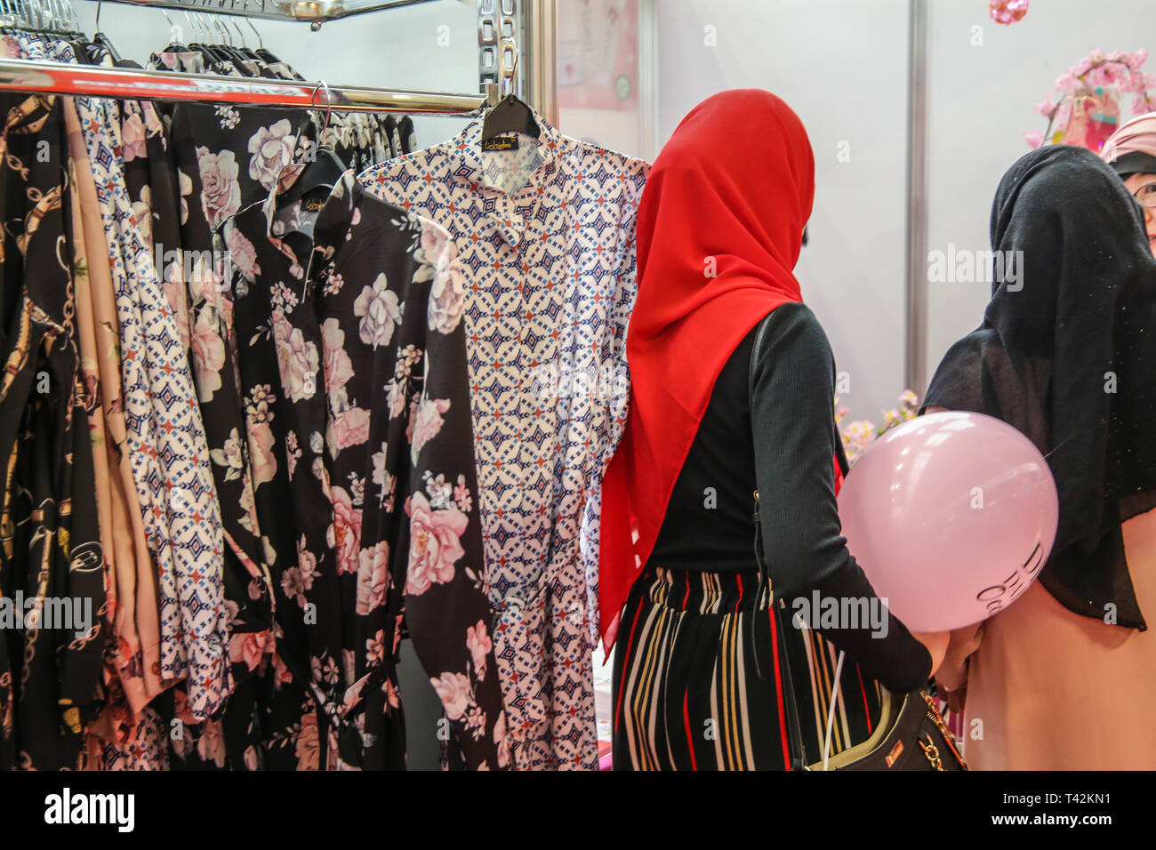 London UK 13 April 2019 Muslim World  offering Halal Food ,Modest fashion show ,wellness and Beauty stage ,live Painting , over 200 shopping stalls ,and top chefs doing cooking demonstration is the perfect day out to enjoy all Muslim World has to offer@Paul Quezada-0Neiman/Alamy Live News - Stock Image