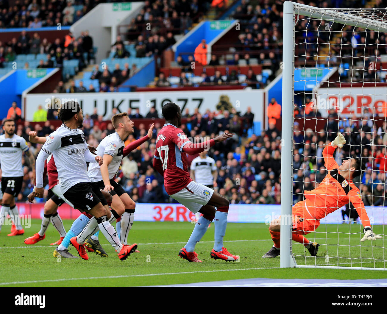 Birmingham, UK. 13th April 2019. Max O'leary of Bristol City saves at point blank range from Conor Hourihane of Aston Villa during the Skybet Championship match between Aston Villa and Bristol City Credit: Paul Roberts/OneUpTop/Alamy Live News - Stock Image