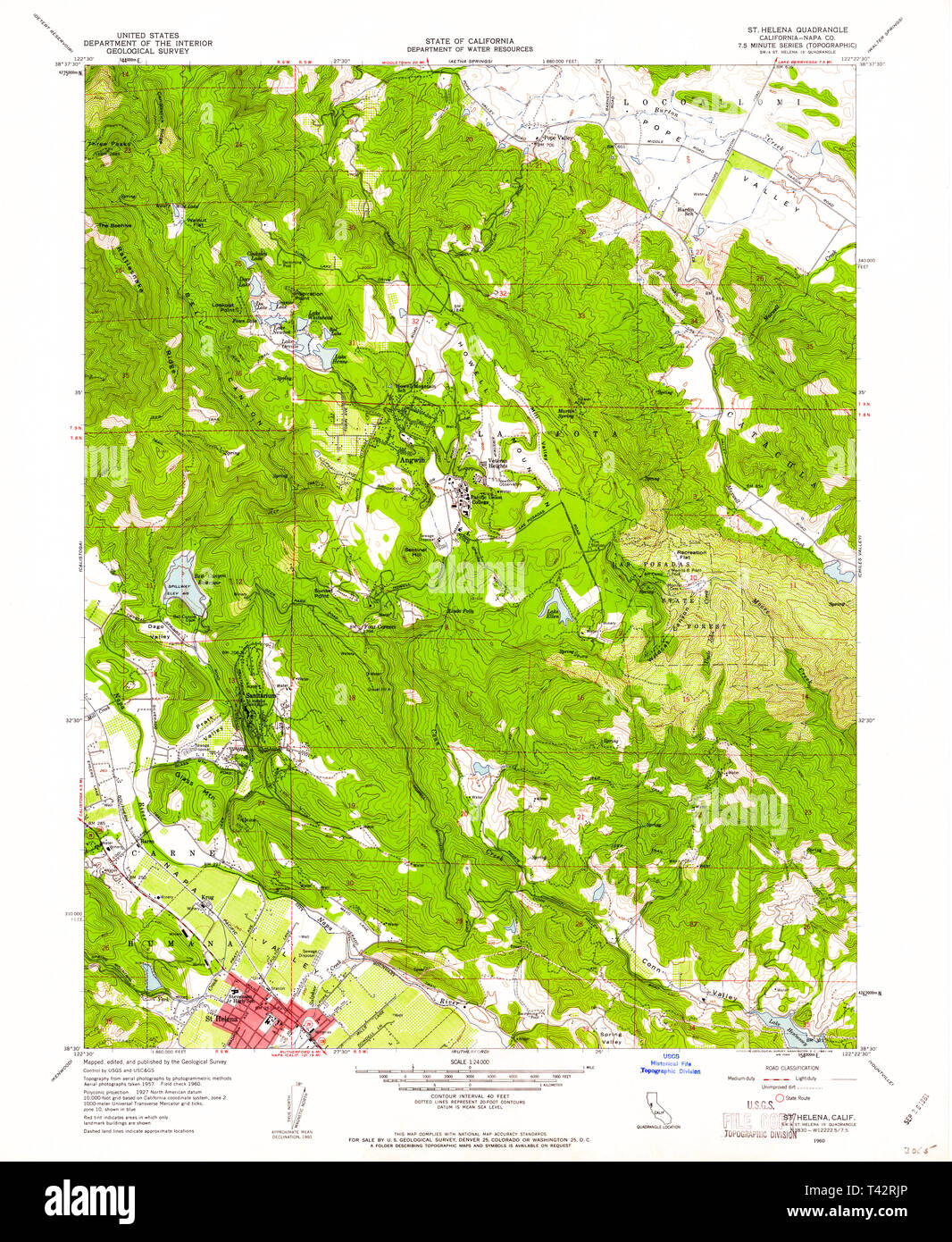 USGS TOPO Map California CA St Helena 295293 1960 24000