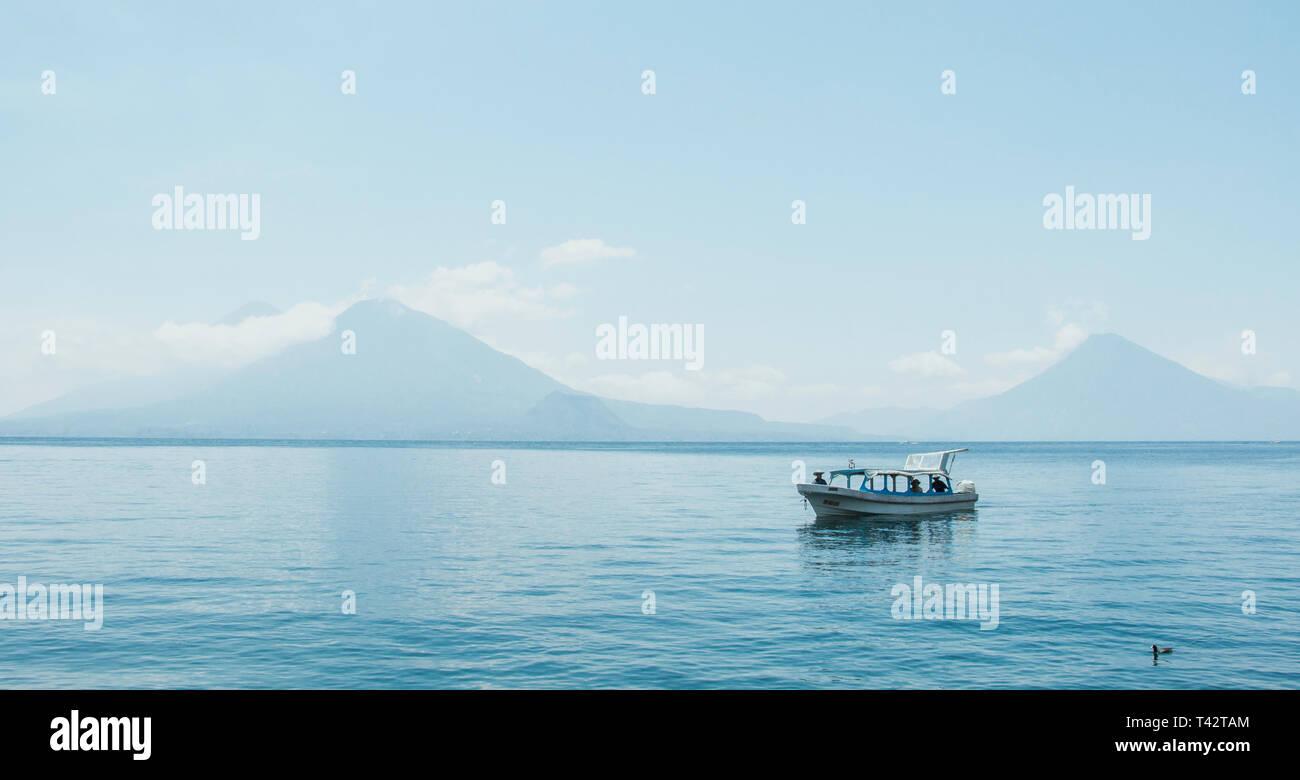 A view of Atitlan Lake in Sololá, Guatemala - Stock Image