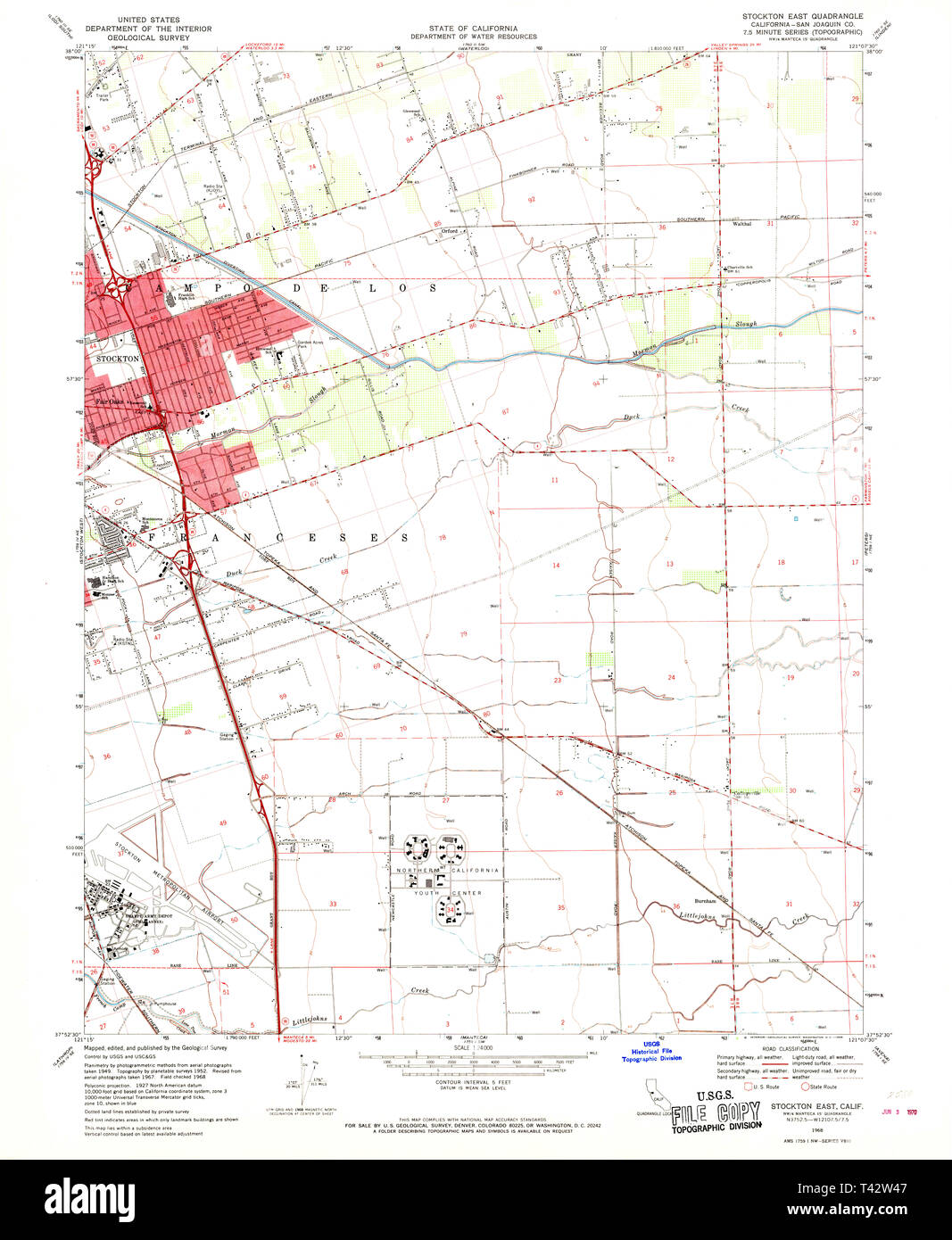 USGS TOPO Map California CA Stockton East 300682 1968 24000 ...