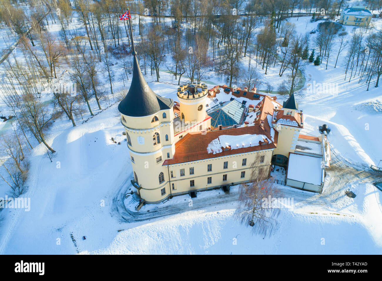 Bip Castle (Mariental) close-up on a sunny February day (aerial survey). Pavlovsk, the outskirts of St. Petersburg - Stock Image