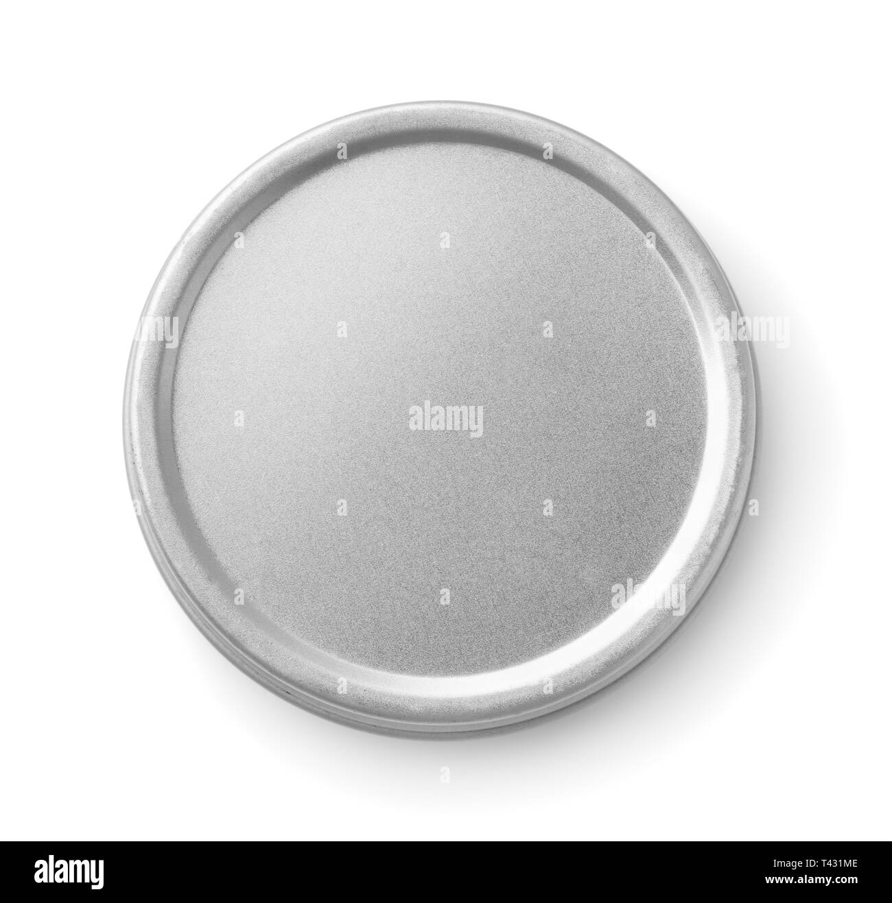 Top view of closed metal round  container isolated on white - Stock Image