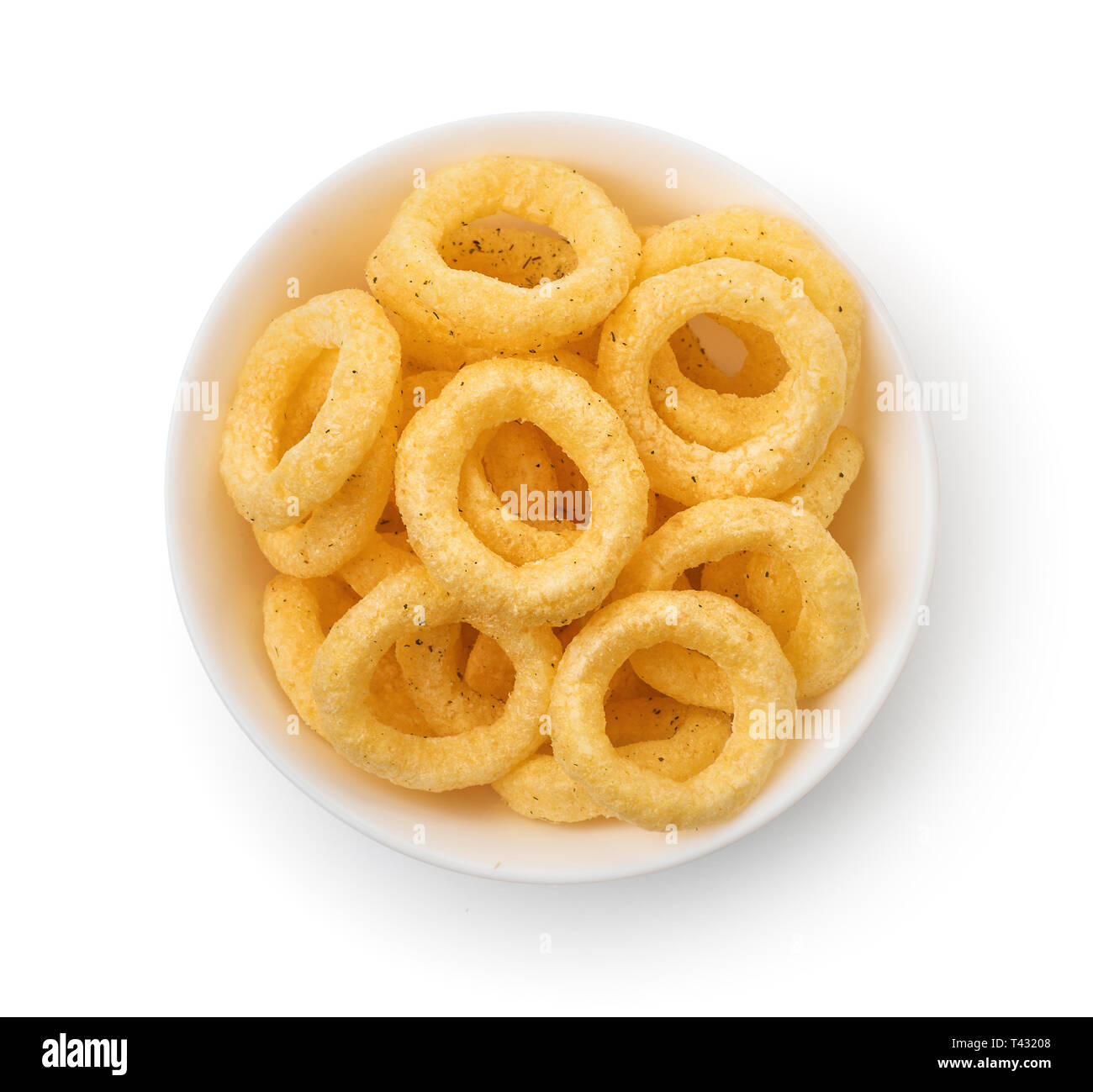 Top view  of crispy onion rings bowl isolated on white - Stock Image