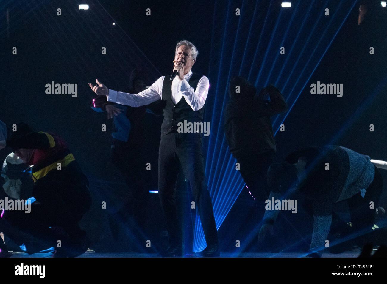 Milan, Italy. April 12, 2019. Claudio Baglioni sings on stage during his Italian Tour Stock Photo