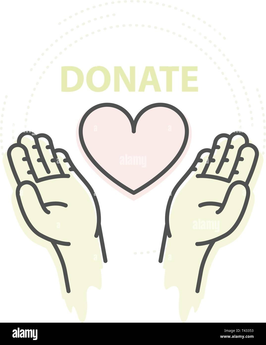 Hands hold heart - charity, donation and help concept Stock Vector