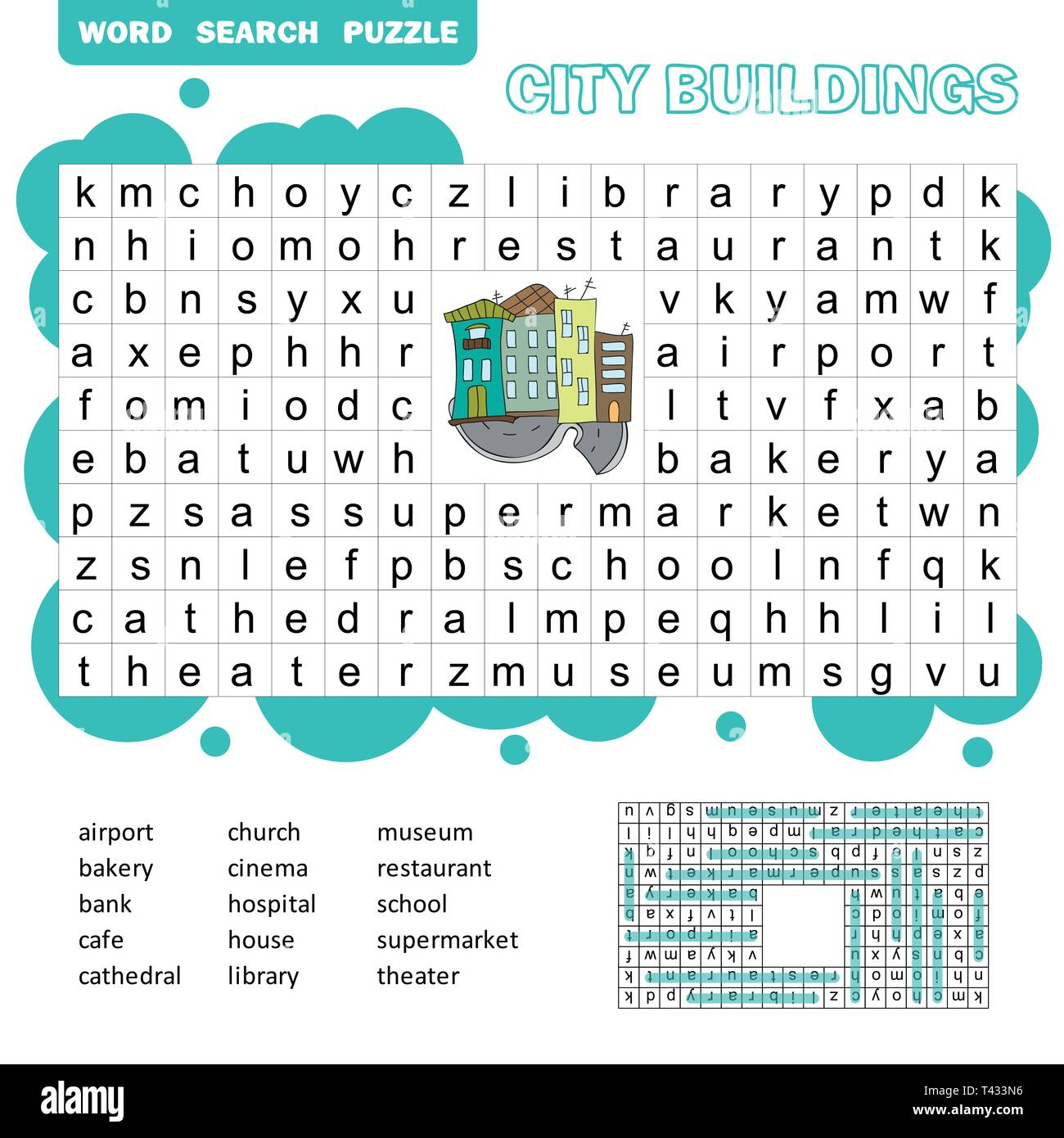 photo about Child Word Search Printable named Term appear puzzle. Vector activity over town constructions
