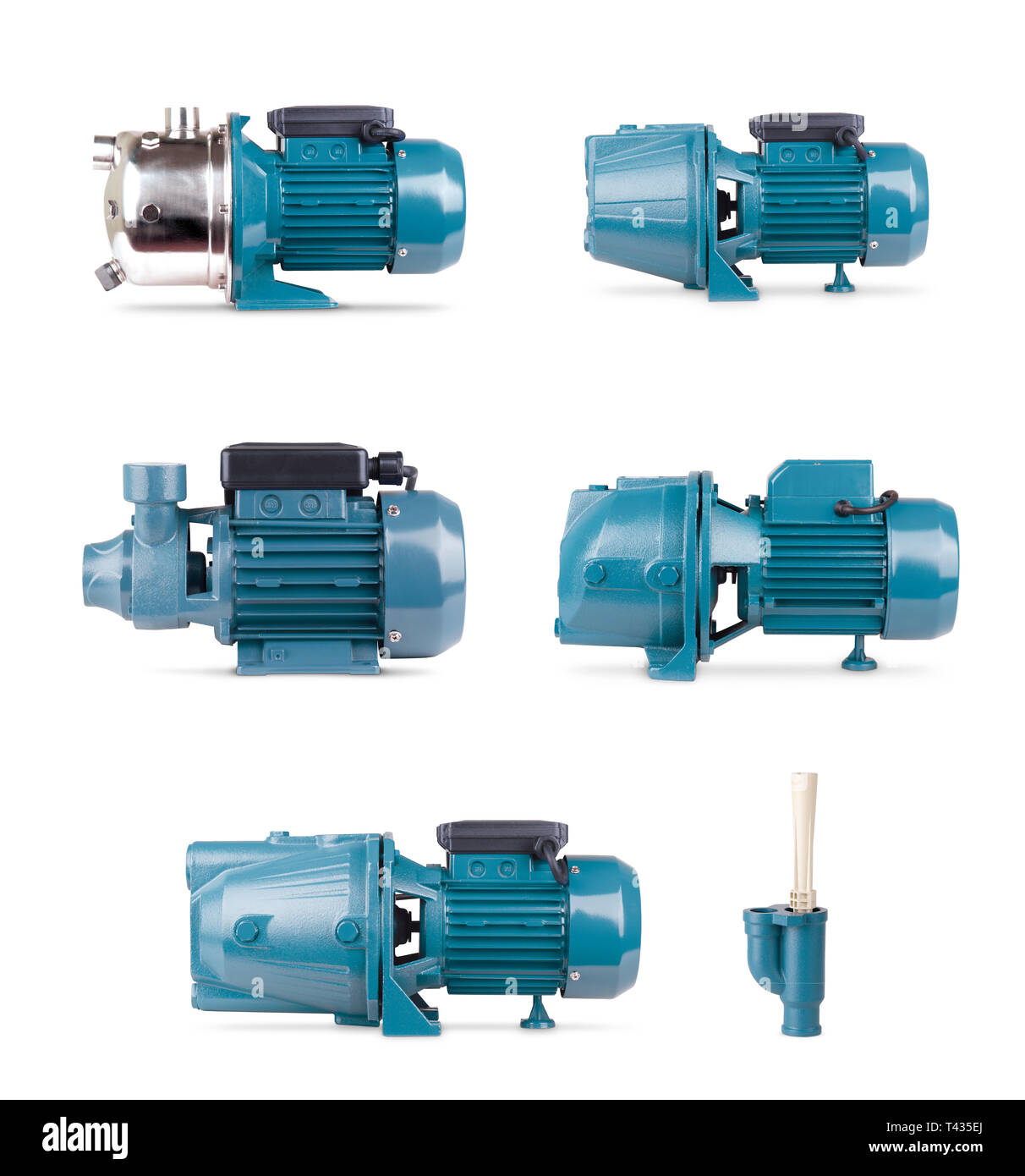 Set of electric motors, isolated white background. Iron pump casing, pressure sensor. Blue color station. Application in private homes, country house - Stock Image