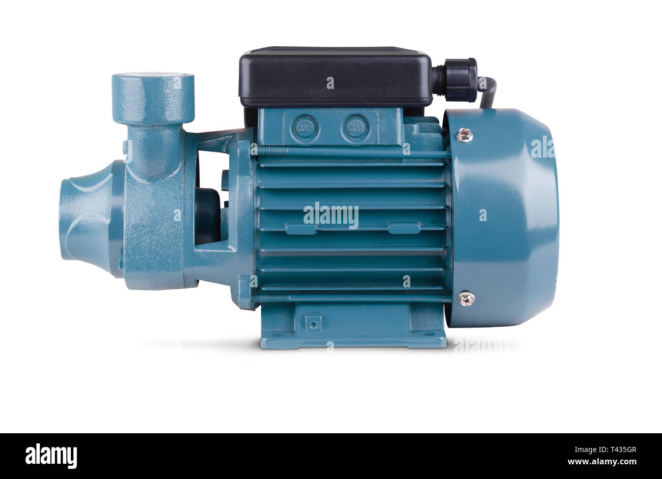 Blue pump to supply water to station water supply. Isolated white background. Metal body of pump, pressure sensor. Blue color station. Application in - Stock Image