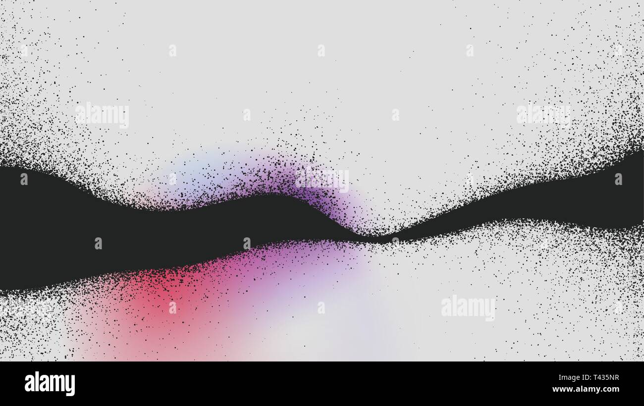 Abstract splash of black dust wave, particle explosion abstract background Vector illustration for design of booklets and posters. - Stock Vector
