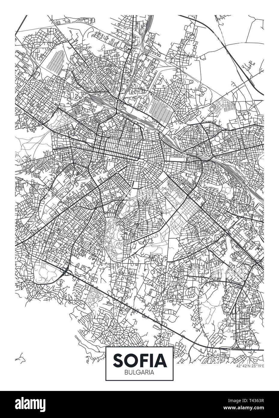 City map Sofia, travel vector poster design detailed plan of the city, rivers and streets Stock Vector