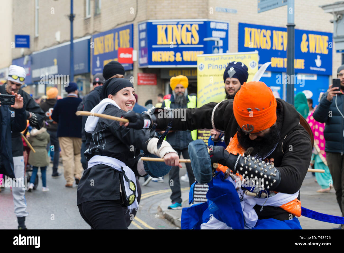 Gravesend, Kent, UK. Vaisakhi Festival 13th April 2019. Gravesend comes alive with colour as the Sikh community celebrate Vaisakhi. - Stock Image