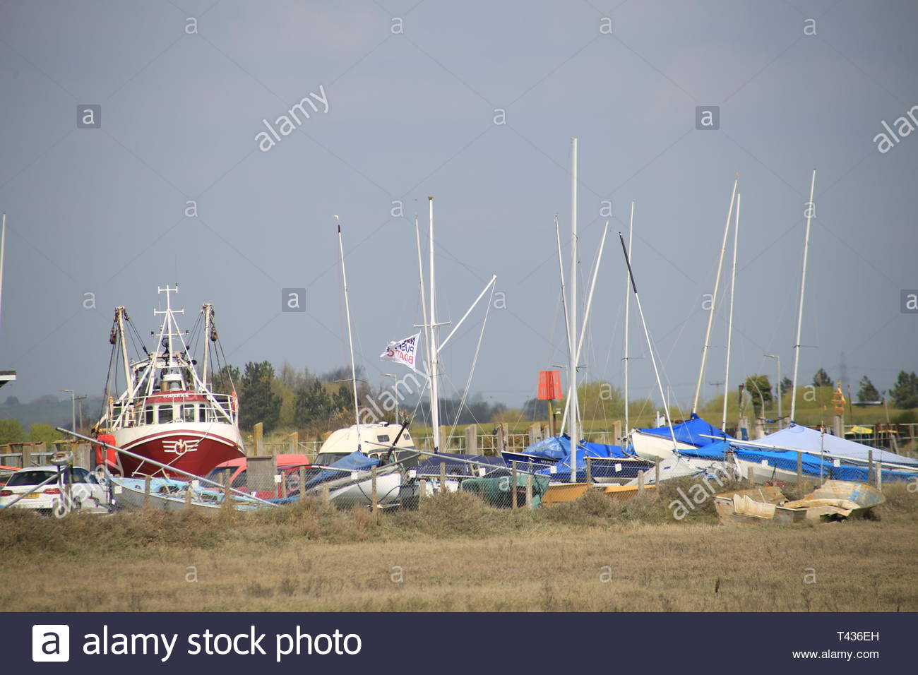 Boats moored at Rye harbour, East Sussex, UK. - Stock Image