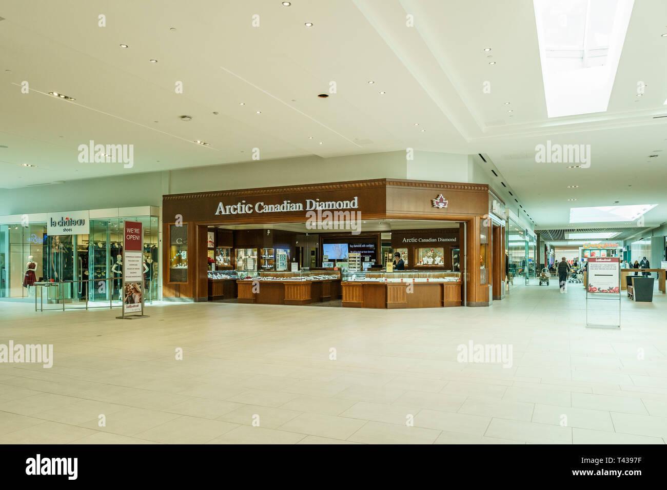 Langley, CANADA - November 14, 2018: interior view of Willowbrook Shopping Centre. - Stock Image