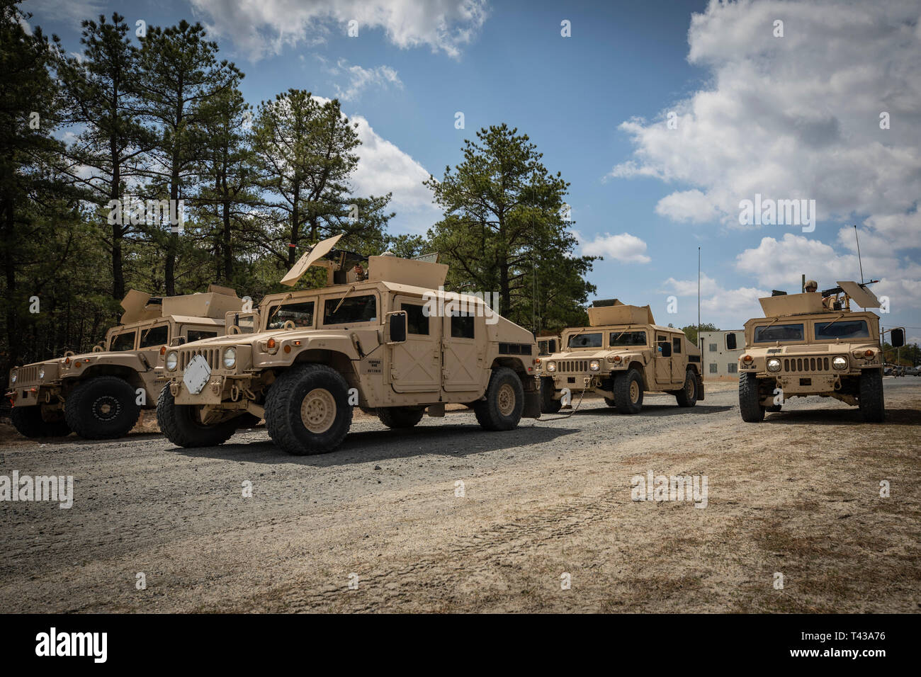 U.S. Army National Guard Soldiers with the 253rd Transportation Company hold a security position during tactical convoy training on Joint Base McGuire-Dix-Lakehurst, N.J., April 8, 2019. (U.S. Air National Guard photo by Master Sgt. Matt Hecht) Stock Photo