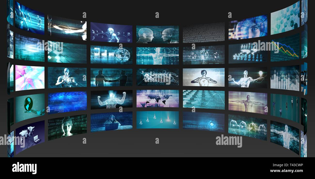 Video Screens Abstract Background for Multimedia Concept - Stock Image