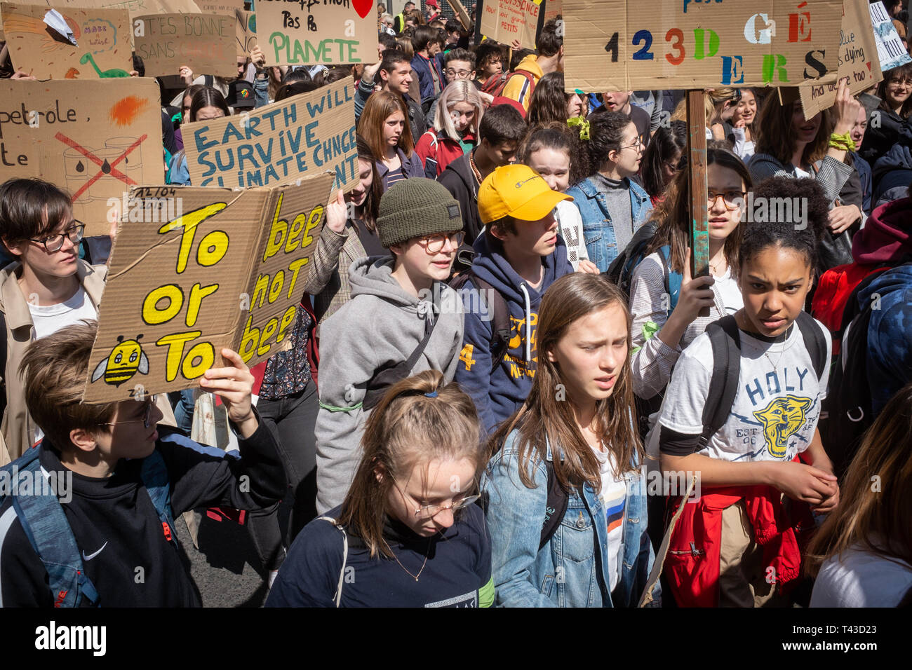 2nd event called by the collective Youth for climate Lyon Stock Photo
