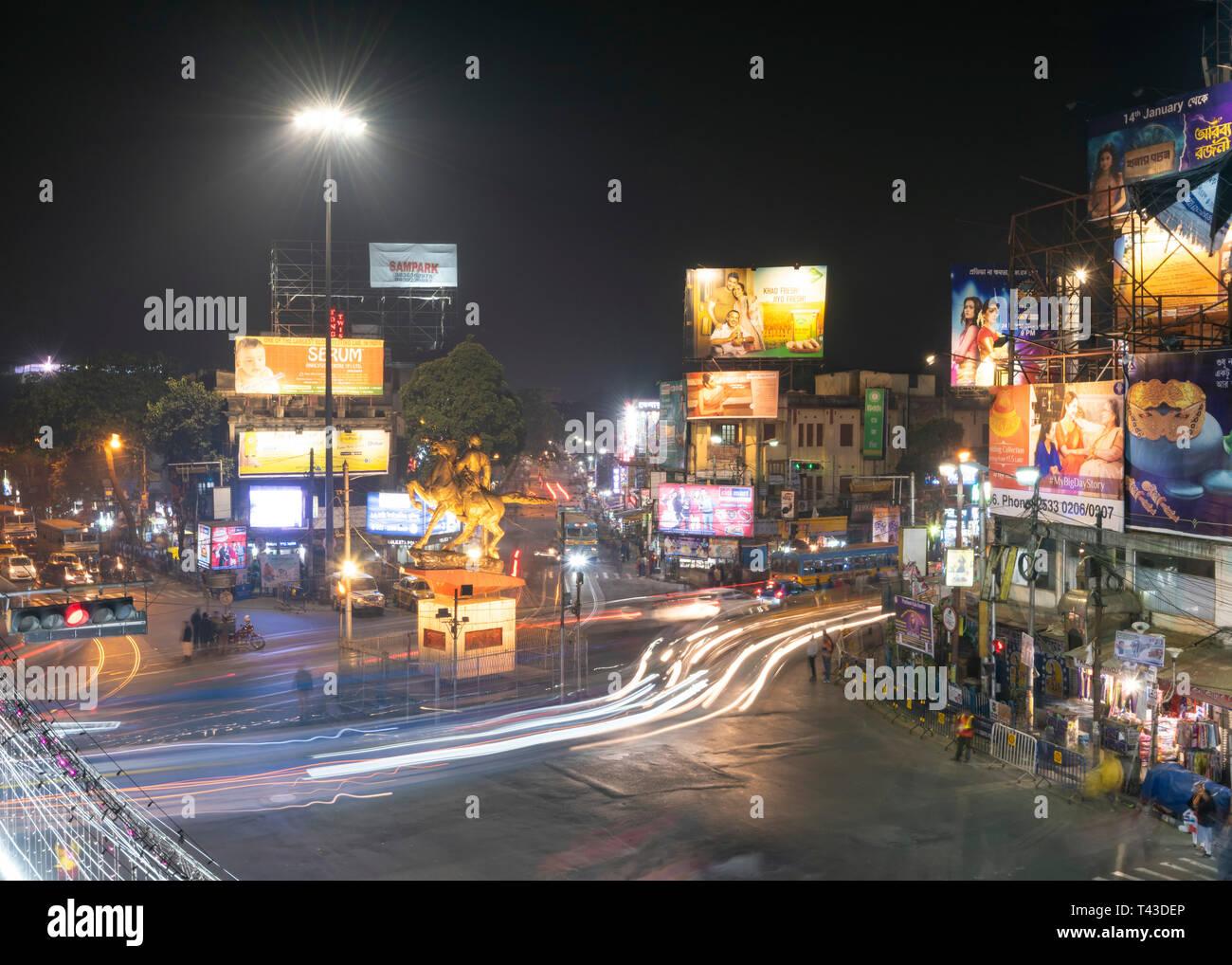 Horizontal aerial view of Shyambazar in Kolkata aka Calcutta, India. - Stock Image