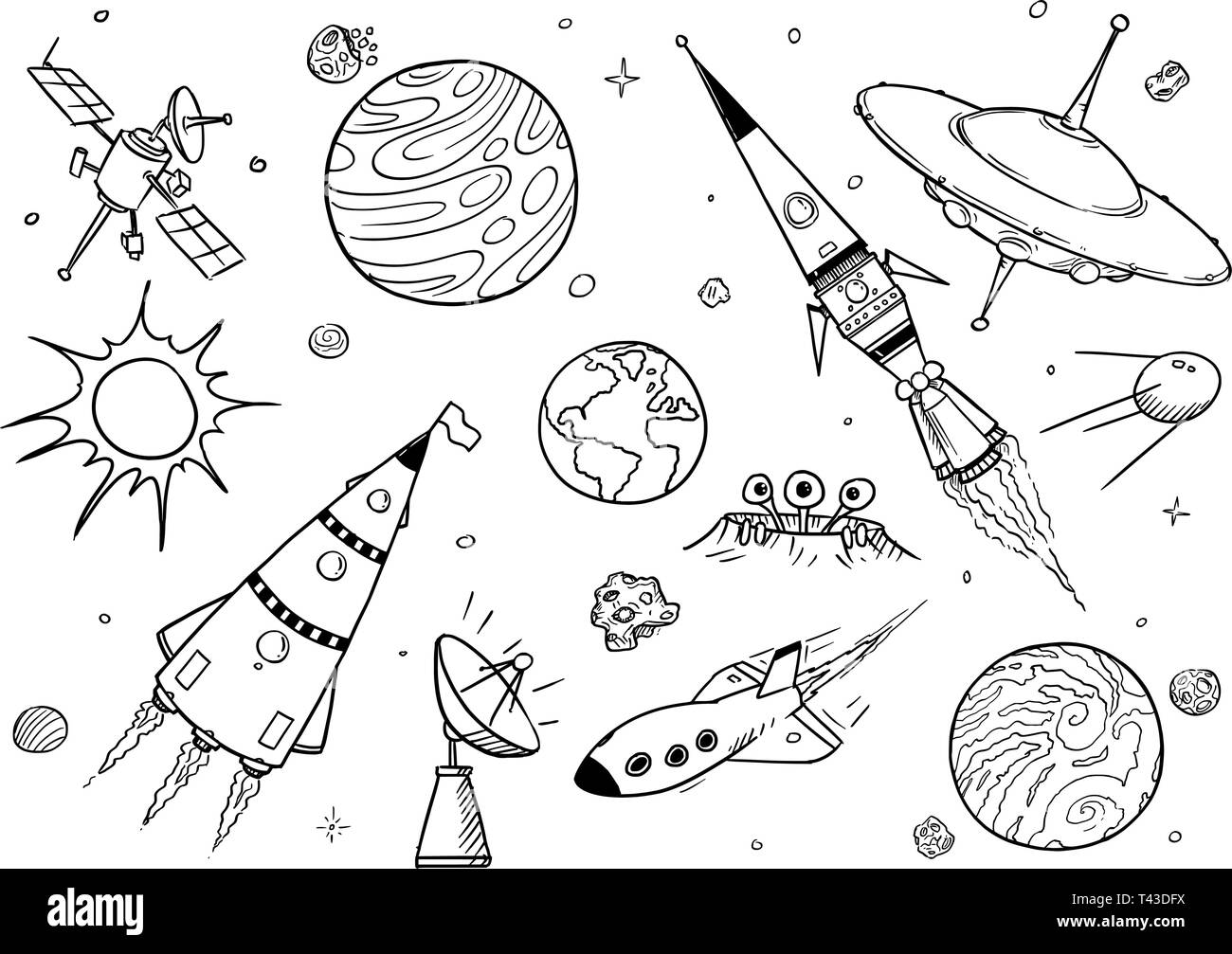 Set of cartoon vector drawings of space props like rockets alien space ships or spaceships ufo planets and satellites