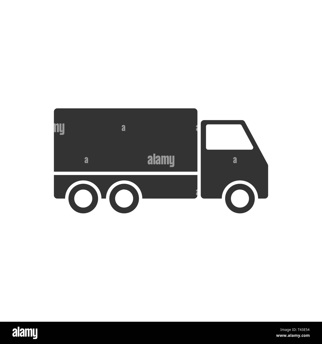 Delivery truck sign icon in flat style. Van vector illustration on white isolated background. Cargo car business concept. - Stock Image