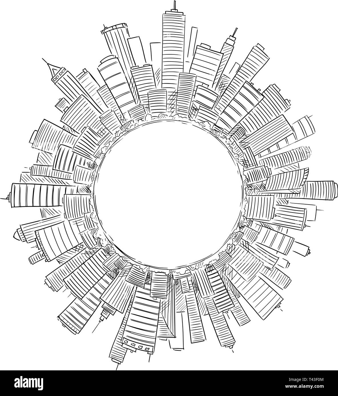 Vector drawing of high rise modern buildings covering globe or circle as representation of global civilization or business. Concept of financial sector and global economics. - Stock Image