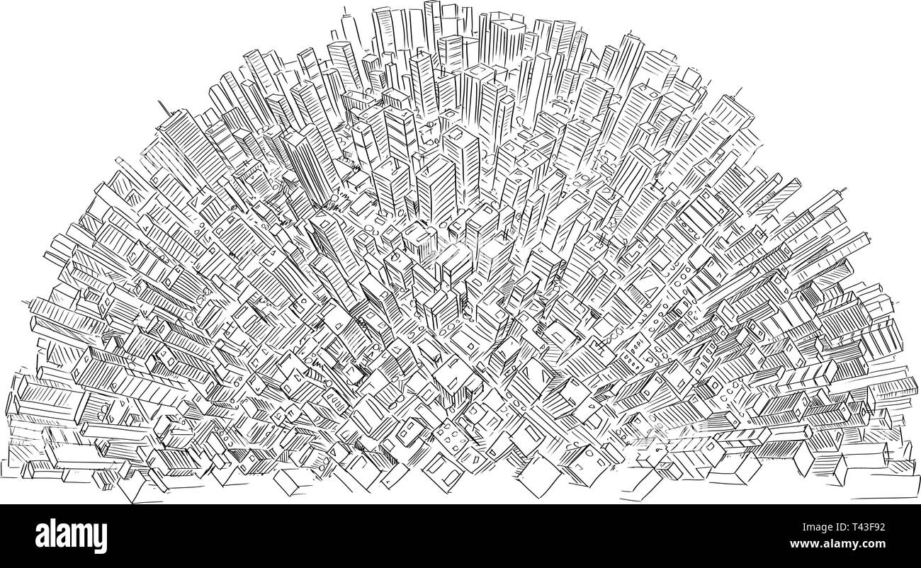 Vector drawing of high rise modern buildings covering half sphere or world or globe as metaphor of global economy, corporate business or financial sector. - Stock Image